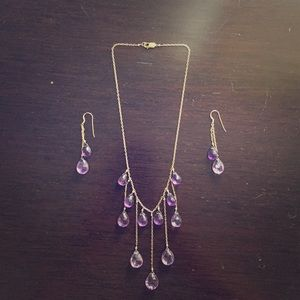 Jewelry - Real amethyst droplet necklace and earrings set